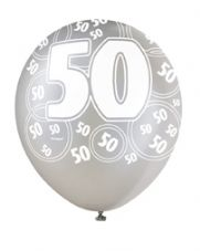 50th Birthday Black Glitz Latex Balloons 12 inch
